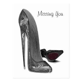 黒くエレガントな小剣の靴の芸術 ポストカード