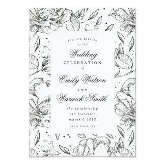 黒くエレガントな手描きの花の結婚式招待状 カード