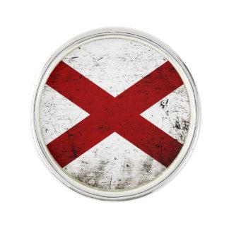 黒くグランジなアラバマの州の旗 ラペルブローチ