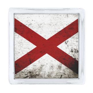 黒くグランジなアラバマの州の旗 銀色 ラペルピン