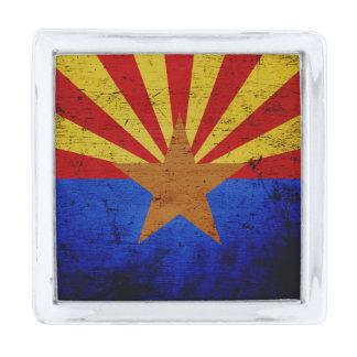 黒くグランジなアリゾナの州の旗 シルバー ラペルピン