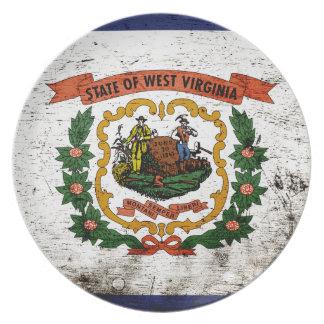 黒くグランジなウェストヴァージニアの州の旗 プレート