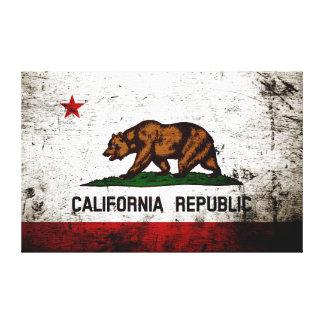 黒くグランジなカリフォルニア州の旗 キャンバスプリント
