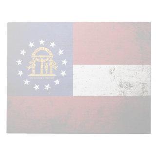 黒くグランジなジョージアの州の旗 ノートパッド