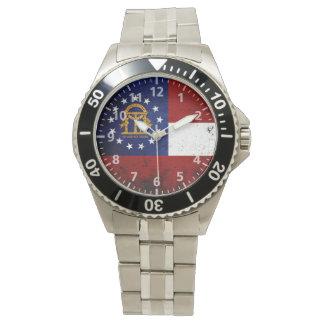 黒くグランジなジョージアの州の旗 腕時計