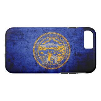 黒くグランジなネブラスカの州の旗 iPhone 8/7ケース
