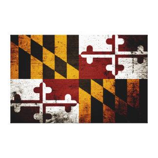 黒くグランジなメリーランドの州の旗 キャンバスプリント