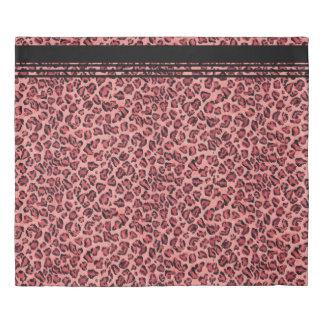 黒くストライプなヒョウのプリントパターンピンクの水彩画 掛け布団カバー