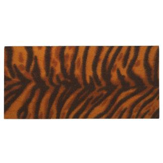 黒くストライプのなトラの毛皮または皮の質のテンプレート ウッドUSBフラッシュドライブ