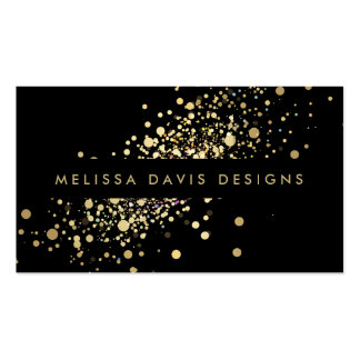 黒くモダンな名刺の模造のな金ゴールドの紙吹雪 スタンダード名刺
