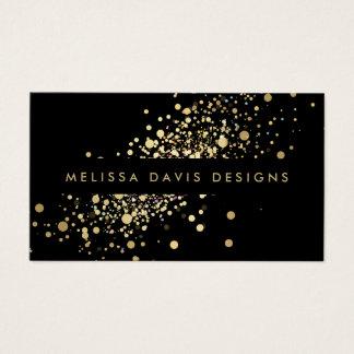 黒くモダンな名刺の模造のな金ゴールドの紙吹雪 名刺