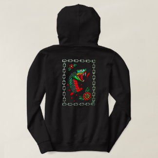 黒く伝統的なヘビのフード付きスウェットシャツ パーカ