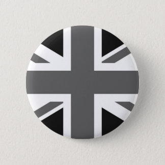黒く及び白いイギリスの旗 5.7CM 丸型バッジ