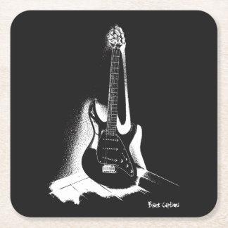 黒く及び白いエレキギター-コースター スクエアペーパーコースター