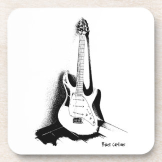 黒く及び白いエレキギター-プラスチックコースター コースター