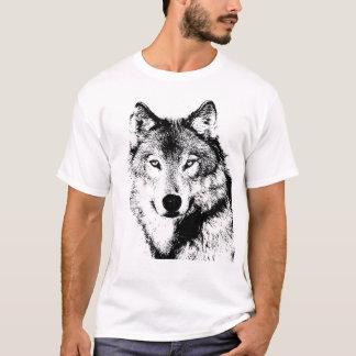 黒く及び白いオオカミのアートワーク Tシャツ