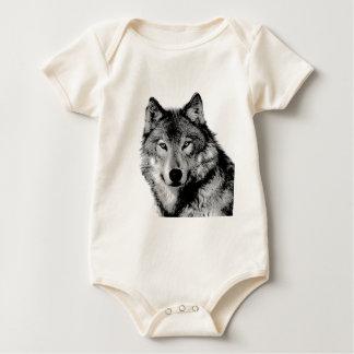 黒く及び白いオオカミ ベビーボディスーツ