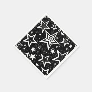 黒く及び白いコレクション-置かれる星のナプキン スタンダードカクテルナプキン