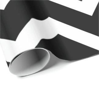 黒く及び白いシェブロンのジグザグパターン ラッピングペーパー