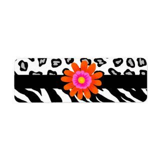 黒く及び白いシマウマ及びチータの皮及びオレンジの花 ラベル