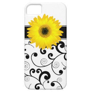 黒く及び白いスクロールの黄色いガーベラのデイジー iPhone SE/5/5s ケース