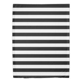 黒く及び白いストライプの 掛け布団カバー