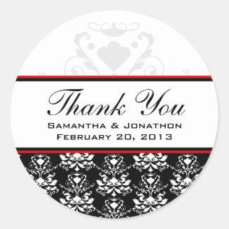 黒く及び白いダマスク織の赤いアクセントの結婚式のラベル ラウンドシール