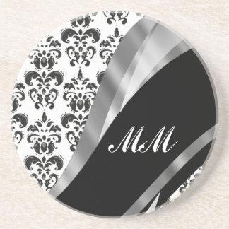 黒く及び白いダマスク織 コースター