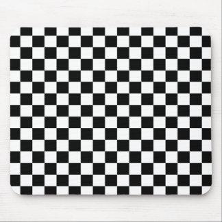 黒く及び白いチェッカーボードの背景 マウスパッド