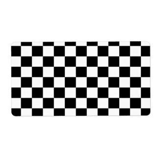 黒く及び白いチェッカーボードの背景 発送ラベル