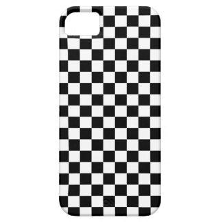 黒く及び白いチェッカーボードの背景 iPhone SE/5/5s ケース
