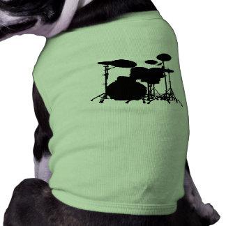黒く及び白いドラムキットのシルエット-ドラマーのための… ペット服