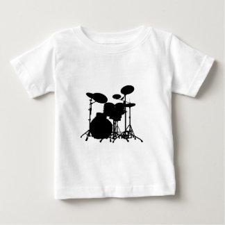黒く及び白いドラムキットのシルエット-ドラマー ベビーTシャツ