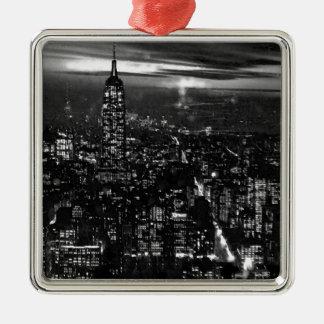 黒く及び白いニューヨークシティ メタルオーナメント