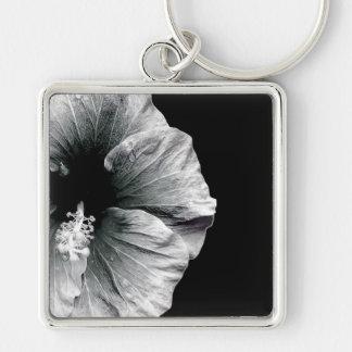 黒く及び白いハイビスカスの花の写真撮影 キーホルダー