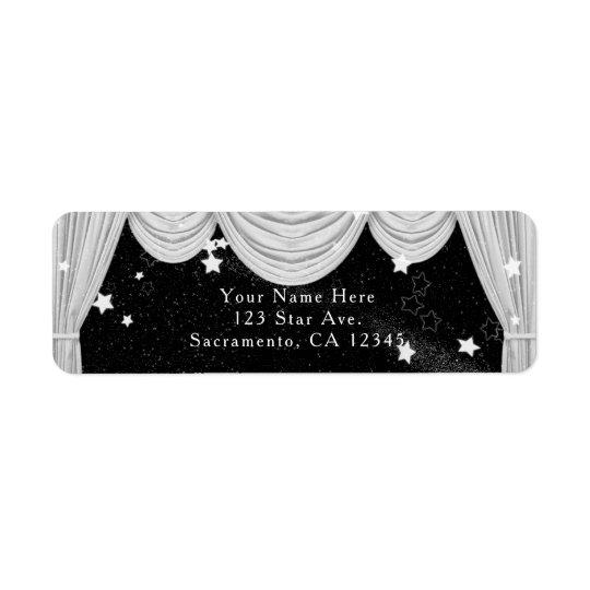 黒く及び白いハリウッドのカーテンの招待状 返信用宛名ラベル