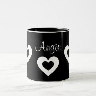 黒く及び白いハートはバレンタインの一流のマグをカスタマイズ ツートーンマグカップ