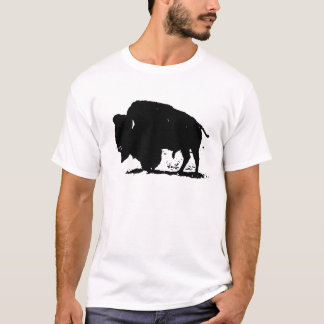 黒く及び白いバッファローのシルエット Tシャツ