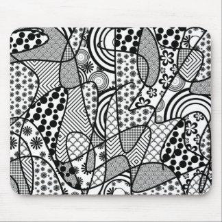 黒く及び白いパターンパッチワーク02 マウスパッド