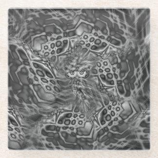 黒く及び白いファンタジーのフクロウのカムフラージュガラスのコースター ガラスコースター