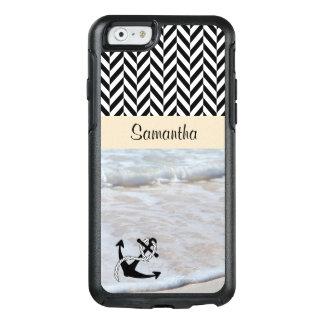 黒く及び白いヘリンボン-ビーチの波- オッターボックスiPhone 6/6Sケース