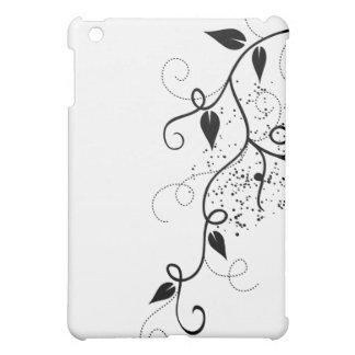 黒く及び白いベクトルキヅタの渦巻の枝シルエット iPad MINIカバー