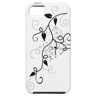 黒く及び白いベクトルキヅタの渦巻の枝シルエット iPhone SE/5/5s ケース