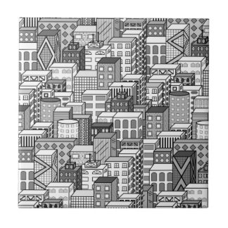 黒く及び白いベクトル都市景観 正方形タイル小