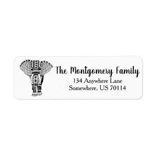 黒く及び白いボヘミア象家族 ラベル
