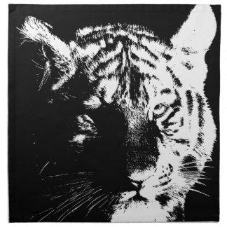 黒く及び白いポップアートのトラ ナプキンクロス