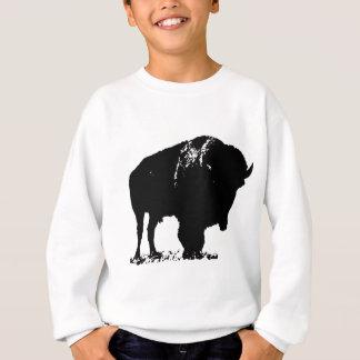黒く及び白いポップアートのバイソンのバッファロー スウェットシャツ