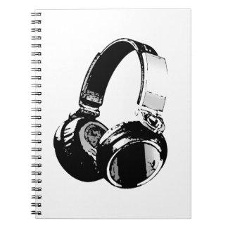 黒く及び白いポップアートのヘッドホーン ノートブック