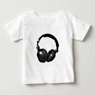 黒く及び白いポップアートのヘッドホーン ベビーTシャツ