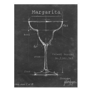 黒く及び白いマルガリータガラスの青写真 ポストカード